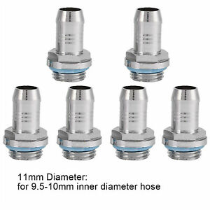 6PCS Barb Fittings PC Water Cooling Radiator For G1/4'' Tube OD 11mm Copper UM