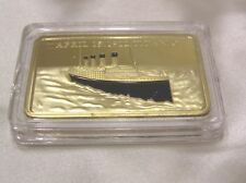 GOLD LAYERED TITANIC INGOT in PROOF CONDITION