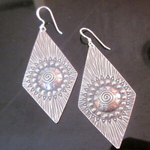 Fine 925 Sterling Silver Earrings Diamond Shape Filigree Sunny Tribal Jewelry
