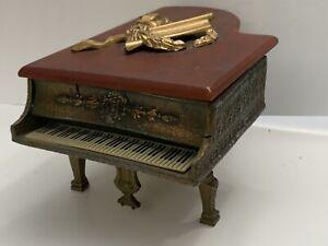 Vintage Piano Music Box Bronze & Ceramic Jewelry Box - Collectible