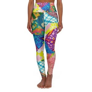 Patchwork Quilt Vintage Style Bohemian High Waisted Yoga Pants Workout Gear Boho