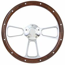 1940 -1948 Ford Cars Sedan Delivery Wood and Billet Steering Wheel - for 3 Bolt