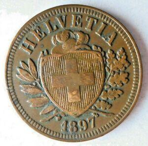 1897 SWITZERLAND 2 RAPPEN - AU - Excellent Scarce Coin - Big Value - Lot #L25