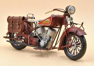 Handmade Indian Motorcycle 1:8 Tinplate Antique Style Metal Model Superb Artwork