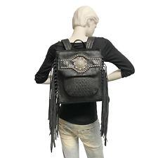 Raviani Concealed Carry Fringe Backpack Black Croco Embossed Leather