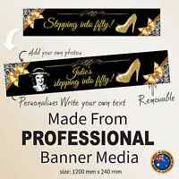 Fifty 50th Birthday Canvas FABRIC Party Banner Personalised Decorations Supplies