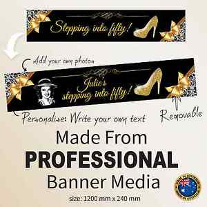Fifty 50th Happy Birthday  FABRIC Party Banner Personalised Decorations Supplies