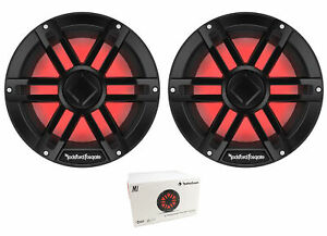 "Pair of Rockford Black 10"" 2400W Dual 2 Ohm Switchable Marine Subwoofer M1D2-10B"