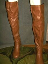 """New Size 8  Forever over the knee buckle & straps brown 1"""" heel zip up boots"""