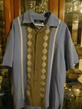 Nat Nast mens shirt L S/S FAB stripes blue gray Mid-Century Modern Charlie Sheen