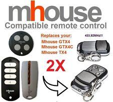 2 X MHOUSE GTX4, GTX4C, TX4 compatible émetteur de remplacement de télécommande