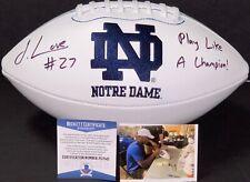 Julian Love Notre Dame Fighting Irish Signed Logo Football Beckett Witness COA