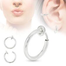1 Fake Septum Nose / Ear Earring Helix Piercing Hoop Ring Clip On 10mm #SP