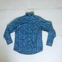 Wrangler Mens Size L Blue Plaid Western Pearl Snap Long Sleeve Shirt