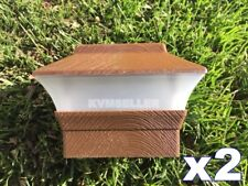 2 Custom Wood Grain Texture 4X4 Solar LED Post Deck Cap Square Fence Light