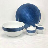 5 PIECE SET STUDIO NOVA BLUE DENIM SERVING BOWL CREAMER SUGAR CHOP PLATE