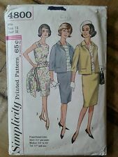 VTG 60s Pattern Simplicity 4800 Skirt Suit and Blouse Mad Men SZ 18 Bust 38