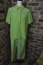 Dressbarn 2 pc Outfit Shirt Pant Silk Linen Green Palm Tree Hawaii size Large BE