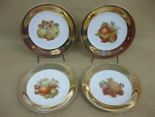 4 Vintage Fruit Plates ~ Foreign ~ Side Plates ~ Fruit Designs Gold Rims