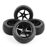 Rubber 4Pcs Front&Rear 1:10 Buggy Tires&Wheel Rims 12mm Hex For HSP RC Model Car