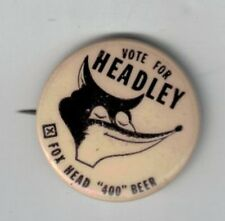 "Vintage 1"" Fox Beer Headly the Fox Pinback Button Wisconsin"