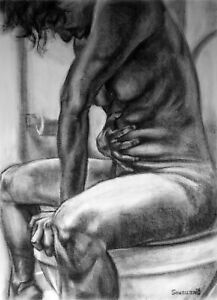 Nude Female Original Charcoal DrawingNaked Woman Sitting Stomach Bathroom BIN