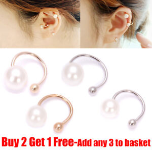 Women 1 Pair Fake Clip-on Pearl Earring Cartilage Cuff Clip Wrap Non Piercing