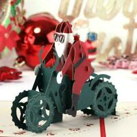 Weihnachten 3D Büttenpapier Motorrad Weihnachtsmann Geschenke Grußkarte Up C9A9
