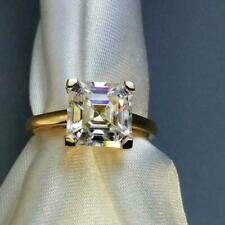 Engagement Ring in 10K Yellow Gold 2 Ct White Asscher Cut Solitier Moissanite