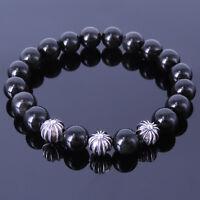 Men's Women Black Obsidian Bracelet 925 Stamp Sterling Silver Cross Bead 179