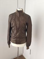 Damen Lederjacke SISLEY Bikerjacke Jacke Bronze Braun Gold Fake Gr. 36/38 NEU
