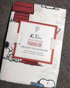 "Pottery Barn Peanuts Snoopy Pillowcase Standard Organic Cotton 20"" X 30"""