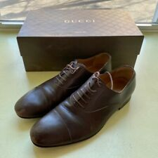 GUCCI Size 8.5 Brown Leather Cap Lace Up Dress Shoes