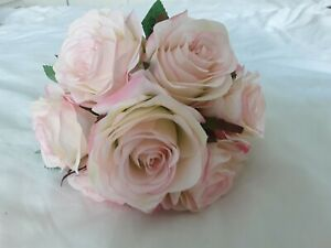 Bunch of Artificial Pale Pink Roses with 7 heads per bunch for Wedding or Decor