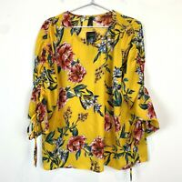 BNWT Crossroads Womens Yellow Floral Long Sleeve Blouse Top Size 12