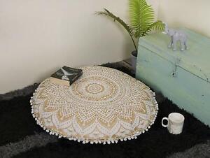 Golden Ombre Mandala Floor Pillows Round Bohemian Cushion Cover Ottoman Pouf