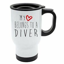 My Heart Belongs To A Diver Travel Coffee Mug - Thermal White Stainless Steel