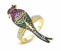 18 K Gelb Gold vergoldet Ladies Ring Multicolor Zirkonia AAA 4,9 g Rhodiniert