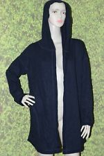 GU Dark Navy Blue Hooded Reversible Long Cardigan Size: L