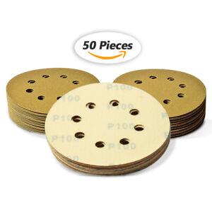 """5"""" 8 Hole Sanding Discs 100 Grit Dustless Hook and Loop Sandpaper Orbital Sander"""