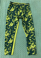 Under Armour Blue and Green Athletic Fitted Pants Leggings  Boys Youth Extra Lar