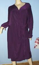 SIZE 20W WOMEN'S LONG SLEEVE, EGGPLANT PURPLE,  WRAP LOOK DRESS - CHAPS