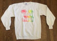 Vintage 80s Florida Flamingo Palm Trees 1980s Crewneck Sweatshirt Size Large