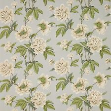 COLEFAX & FOWLER SHABBY GISELLE PEONIES LINEN FABRIC 10 YARDS AQUA CREAM MULTI