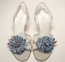 O l'autre chose pastel blue heels with flower detail