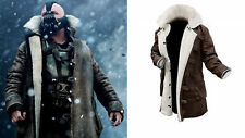 Men's Tom Hardy The Dark Knight Rises Bane Faux Fur Brown Leather Coat Jacket
