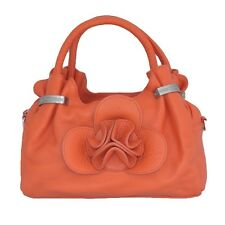 Women's Genuine Leather Tulip Tote Bag Orange or Green
