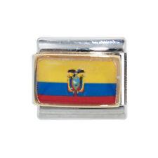 Ecuador flag enamel Italian charm - fits 9mm classic Italian charm bracelets