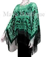 Emerald Green Silk Burnout Velvet Poncho Fringe Top Shawl Maya Matazaro