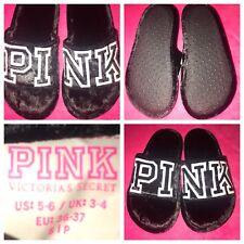 NEW Victoria's Secret PINK Slippers BLACK/WHITE Velvet Slides Women's SMALL(5-6)